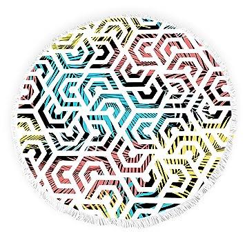 Toallas de Playa Redondas con borlas de Plantas Tropicales Geometry Doodle Art Flinged Círculo Grueso Gitano Alfombra de Picnic Yoga Mat: Amazon.es: Hogar