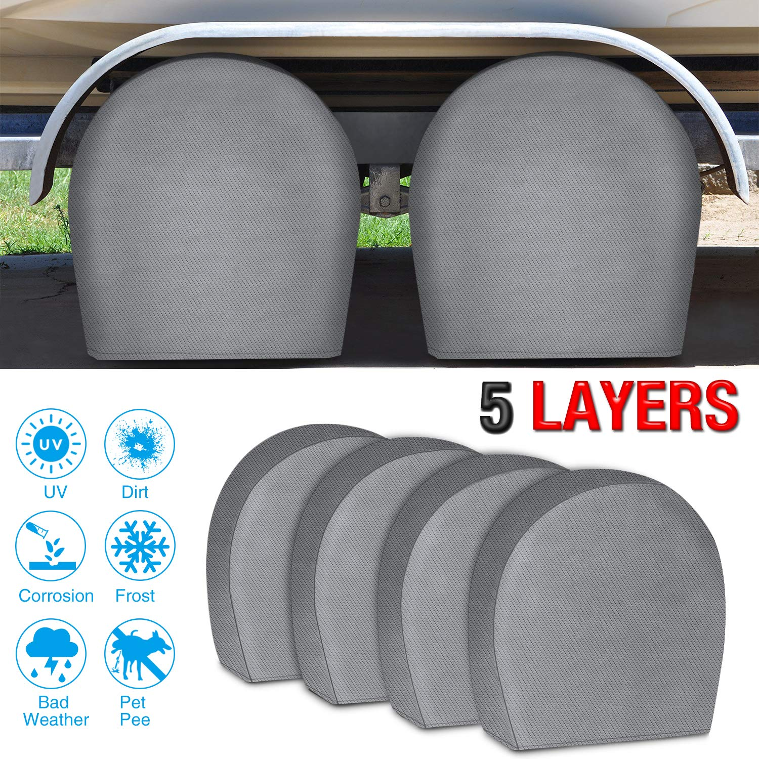 RVMasking Tire Covers for RV Wheel Set of 4 Extra Thick 5-ply Motorhome Wheel Covers, Waterproof UV Coating Tire Protectors for Trailer Truck Camper Auto, Fits 24'' - 26.5'' Tire Diameters