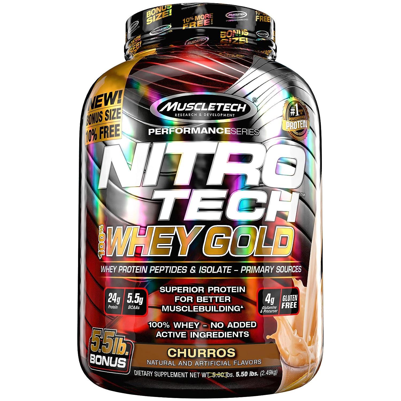 ナイトロテック100%ホエイゴールド 2.51kg (Nitrotech 100% Whey Gold 5.53Lbs) (チュロス) B079FWGH82