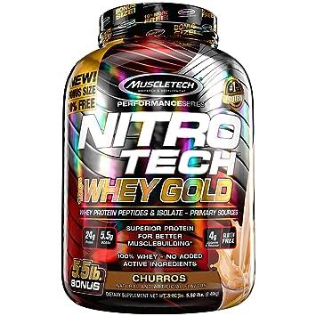 MuscleTech Nitrotech Whey Gold/Isolate/Peptides, Churro, 5.5 Pound