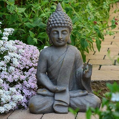Stein Buddha Antik massiv Steinfigur Skulptur Feng Shui Garten ...