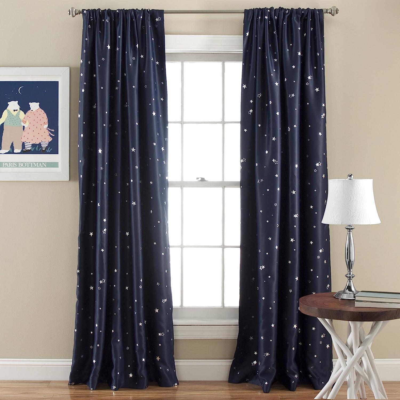 "Lush Decor Room Darkening, Energy Efficient (Pair), 84"" x 52"", Navy Star Blackout Curtains-Window Panel Set, L"