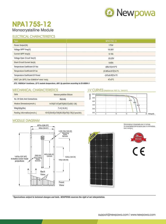 Newpowa 160 Watt 160W 12V Solar Panel High Efficiency Poly Module RV Marine Boat Off Grid