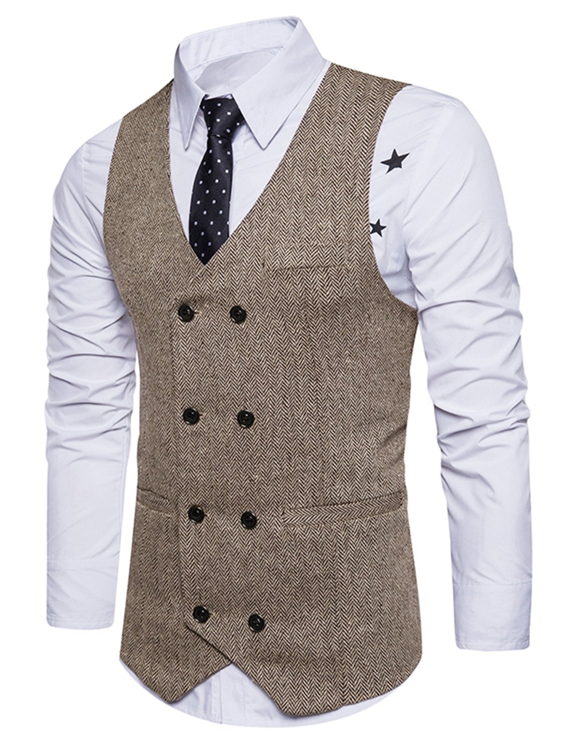 Boom Fashion Mens Double Breasted Tweed Vintage Gentleman British Business Casual Waistcoat M17UUS0829-21