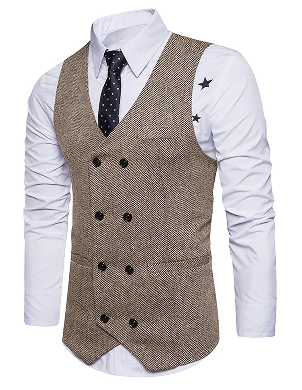 GHYUGR Men Slim Fit V Neck Double Breasted Tweed Business Casual Waistcoat Suit Vest shenkaclothing0041sks
