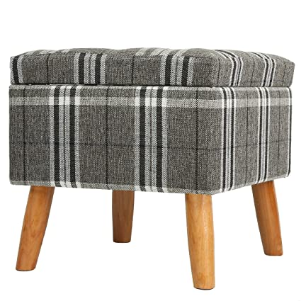 Awe Inspiring Eshow Footstools With Storage Ottoman Storage Stool Foot Rest With Wooden Legs Plaid Machost Co Dining Chair Design Ideas Machostcouk