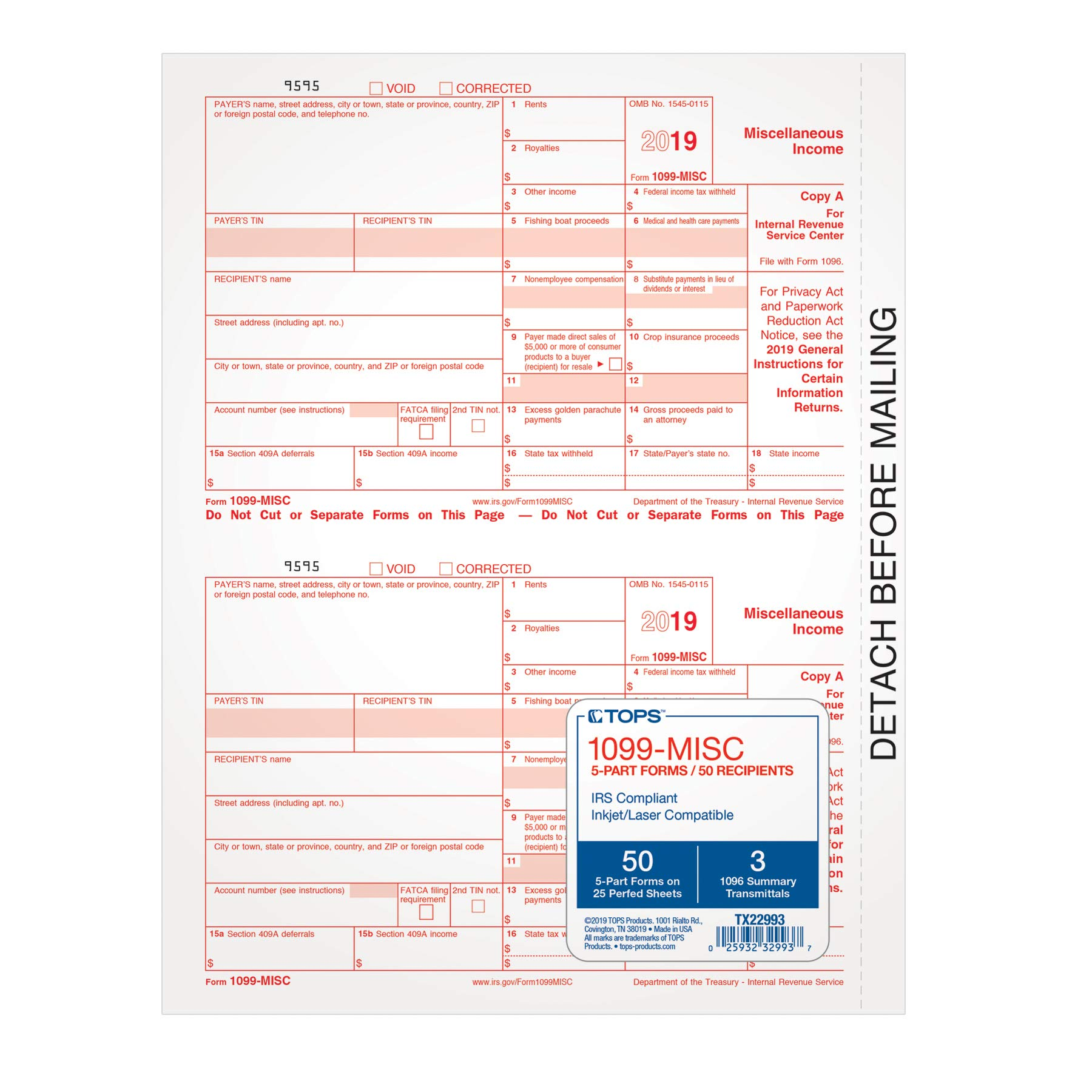 TOPS 1099-MISC Tax Forms for 2019, 5-Part Inkjet/Laser Form Sets for 50 Recipients, 3 1096 Summary Transmittal Forms (TX22993) by TOPS
