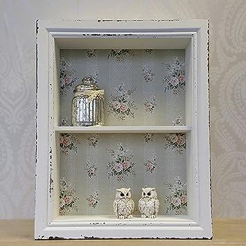 Armadietto da parete in legno bianco con scaffale, stile shabby ...