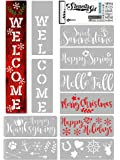 KIBAGA Reusable Seasonal Stencils for Painting on Wood and More - Easy Paint Welcome Sign Stencil for Front Door, Porch…