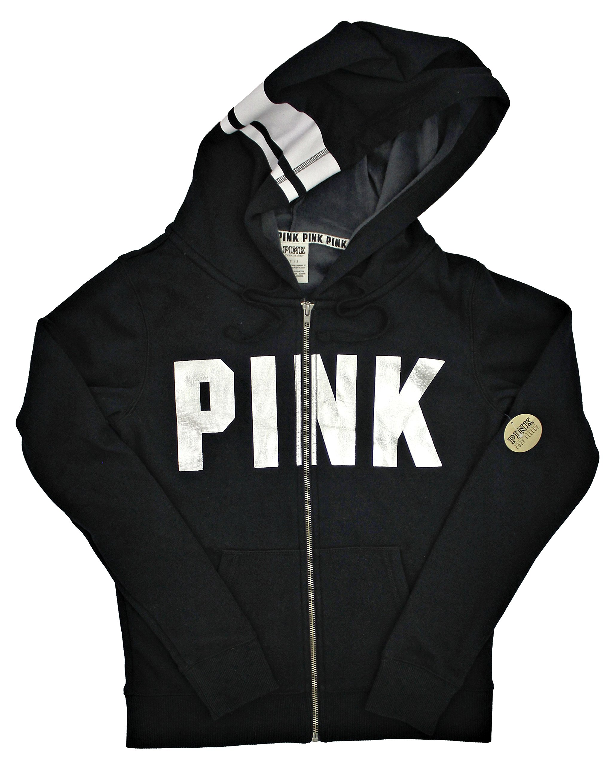 Victoria's Secret Pink Cozy Fleece-Lined Perfect Full Zip Hoodie, Black/Silver Logo, Medium