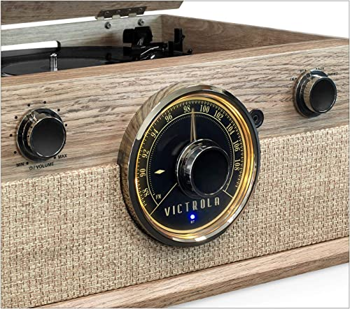 Victrola 4-in-1 Cambridge Farmhouse Modern Bluetooth Turntable with FM Radio, Farmhouse Oatmeal