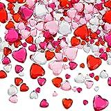 516 Pieces Acrylic Heart Rhinestone Heart Crystal Gems Rhinestone Flat Back Heart Rhinestones 18 mm/ 12 mm/ 10 mm/ 6 mm for V