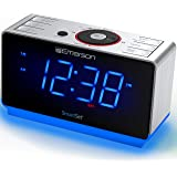 "Emerson Radio ER100112 Smartset Alarm Clock Radio with Bluetooth Speaker, USB Charging, Night Light, 1.4"" Blue Jumbo Display"
