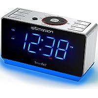 "Emerson Radio ER100112 Smartset Alarm Clock Radio with Bluetooth Speaker, USB Charging, Night Light, 1.4"" Blue Jumbo…"