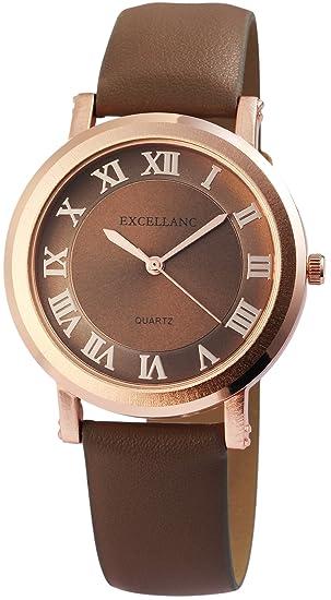 Reloj mujer marrón oro números romanos Analógico de Cuarzo Piel Reloj de pulsera