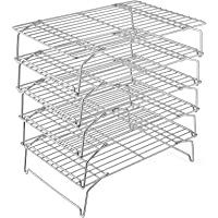 Cooling Rack, P&P CHEF 5-Tier Stainless Steel Stackable Baking Cooking Racks for Cooling Roasting Grilling, Collapsible…