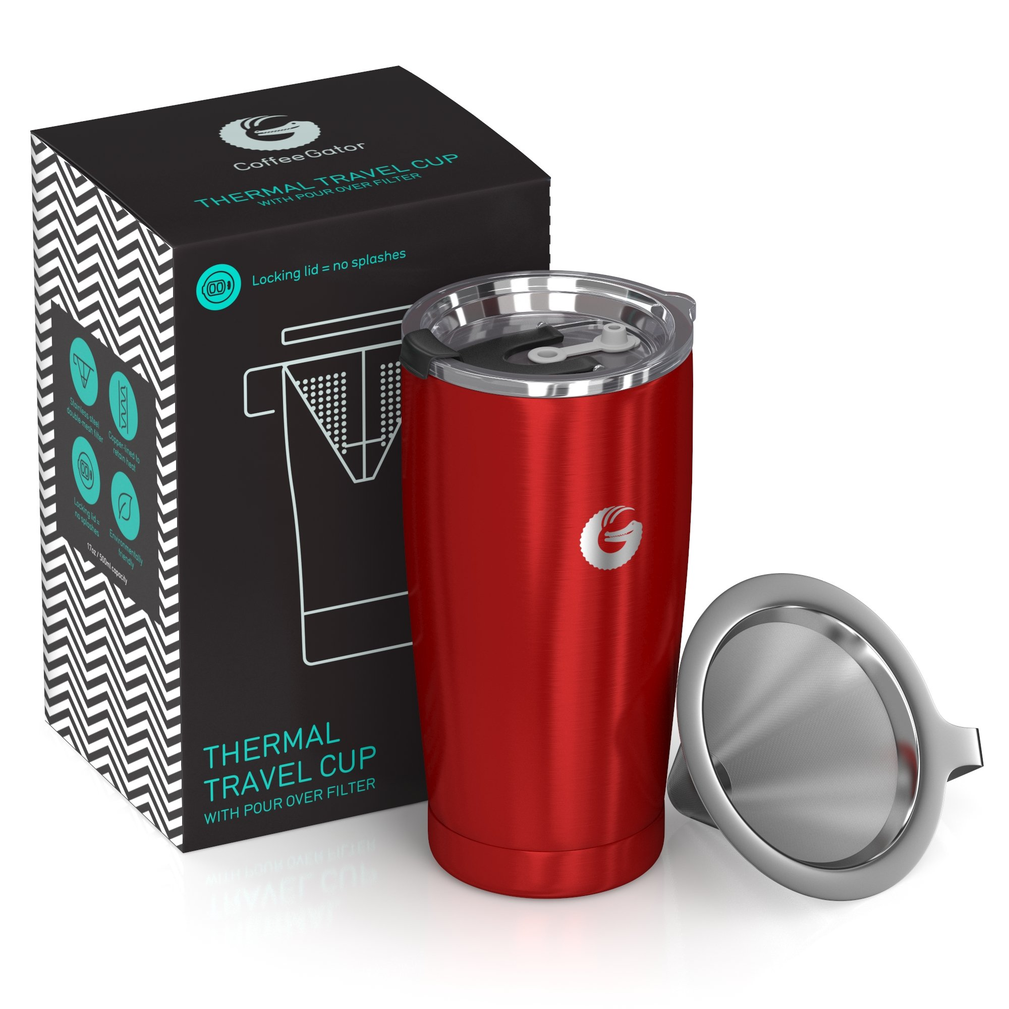 Coffee Gator Pour Over Coffee Maker - All in One Paperless Travel Brewer - 17floz - Thermal Vacuum Cup With Micro Mesh Filter - Red