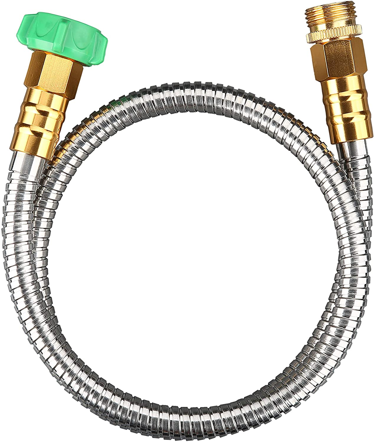 BEAULIFE 304 Stainless Steel Metal Garden Hose Connector 5 Feet Short Garden Water Hose Extension Extender, Drinking Water Hose Lead and BPA Free