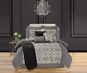 Mytex Home Fashions Adrienne Champagne 10-Piece Medallion Comforter Set Featuring, Pintucking, Taupe, Grey, Ivory, Queen, Beige