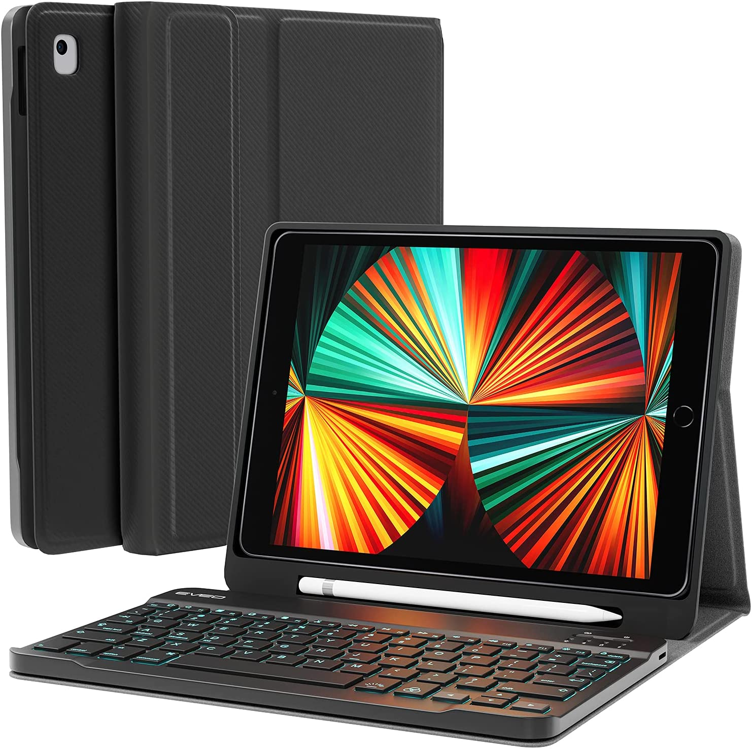 iPad Keyboard for 10.2'' 8th/7th Generation Case with Keyboard - Keyboard for iPad with Backlit, BT, Keyboard and Built-in Pencil Holder - Keyboard for iPad with Bluetooth - Strong Case - Black
