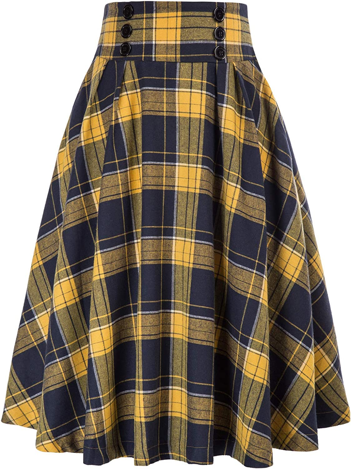 Belle Poque Women Plaid Skirt Vintage High Waist Pleated Skirt with Pockets BPA020
