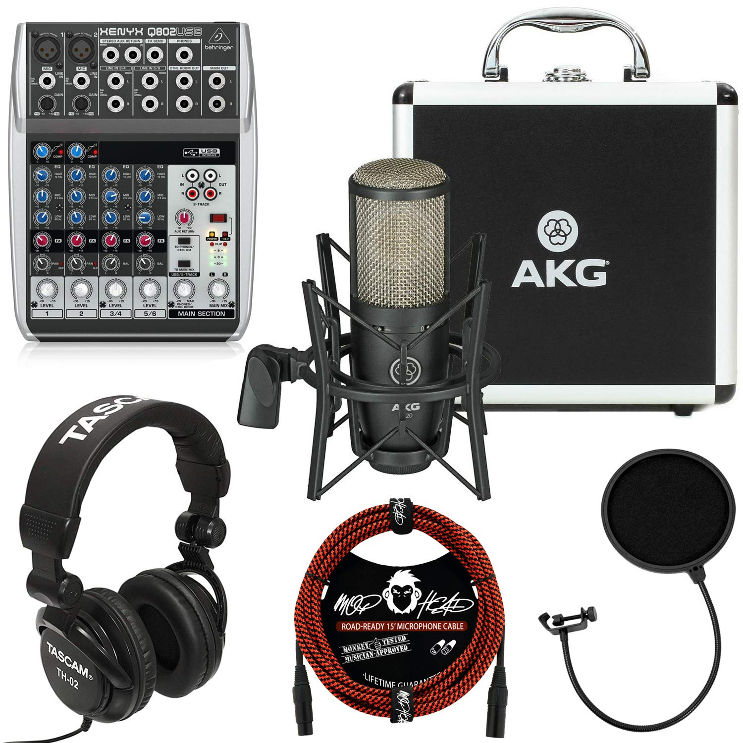 AKG Project Studio P220 Large-Diaphragm Cardioid Condenser Microphone Bundle with Behringer Xenyx Q802USB Mixer with USB, Tascam TH-02 Closed Back Studio Headphones and Accessories (4 Items) by AKG