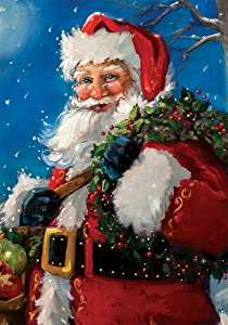 Jolly Santa - Garden Size, 12 Inch X 18 Inch, Decorative Double Sided Flag Printed in USA - Copyright and Licensed, Trademarked by Custom Décor Inc.