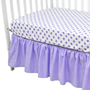 American Baby Company 100% Cotton Percale Standard Crib and Toddler Mattress Bundle, Lavender Dots Fitted Sheet and Skirt, for Girls