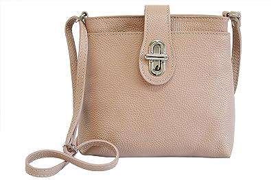 b8655d3e647d83 AMBRA Moda Damen echt Ledertasche Handtasche Schultertasche Umhängtasche  Citybag Girl Crossover GL007 (Altrosa)
