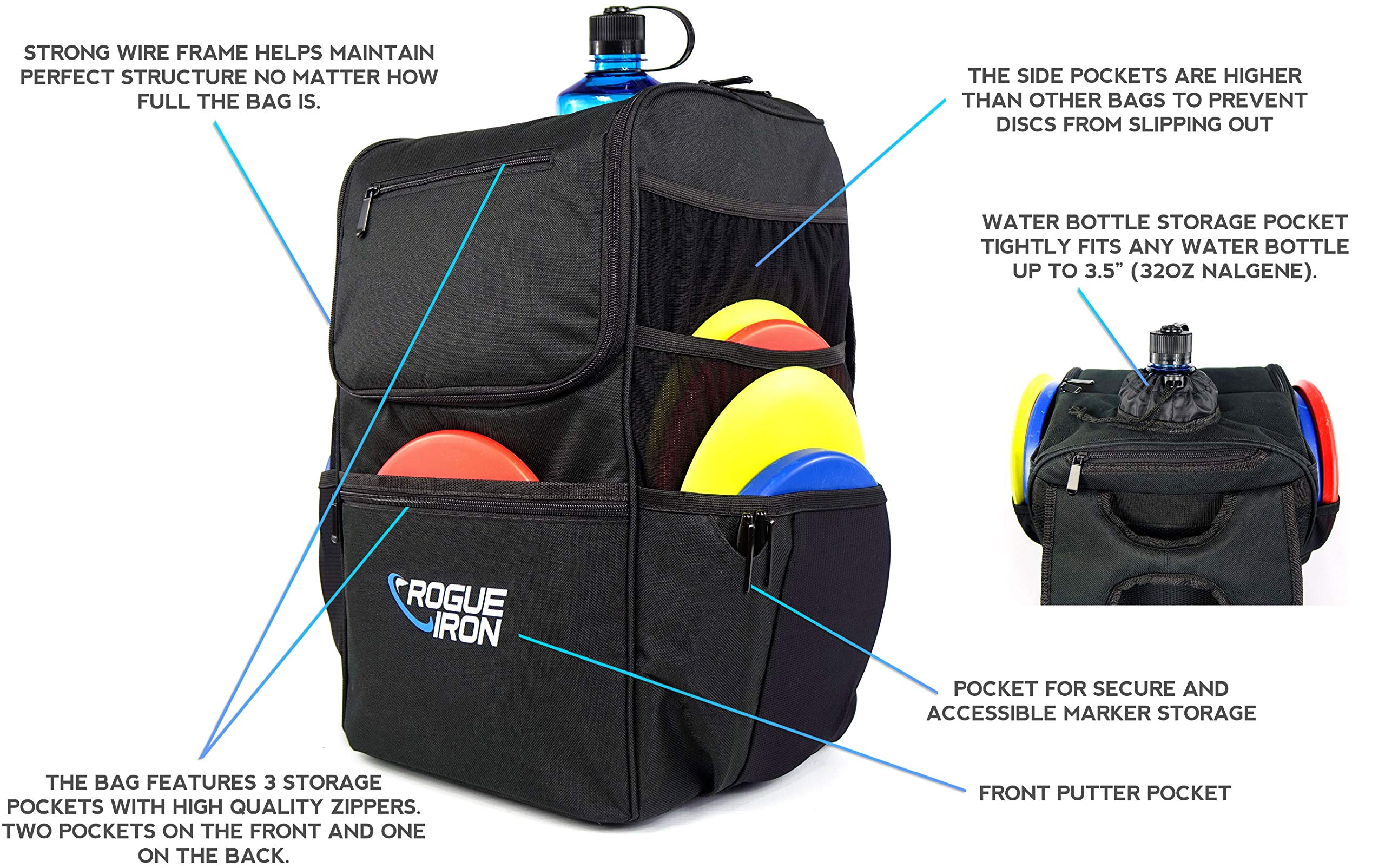 Rogue Iron Disk Golf Backpack & Cooler (Black) by Rogue Iron Sports (Image #2)
