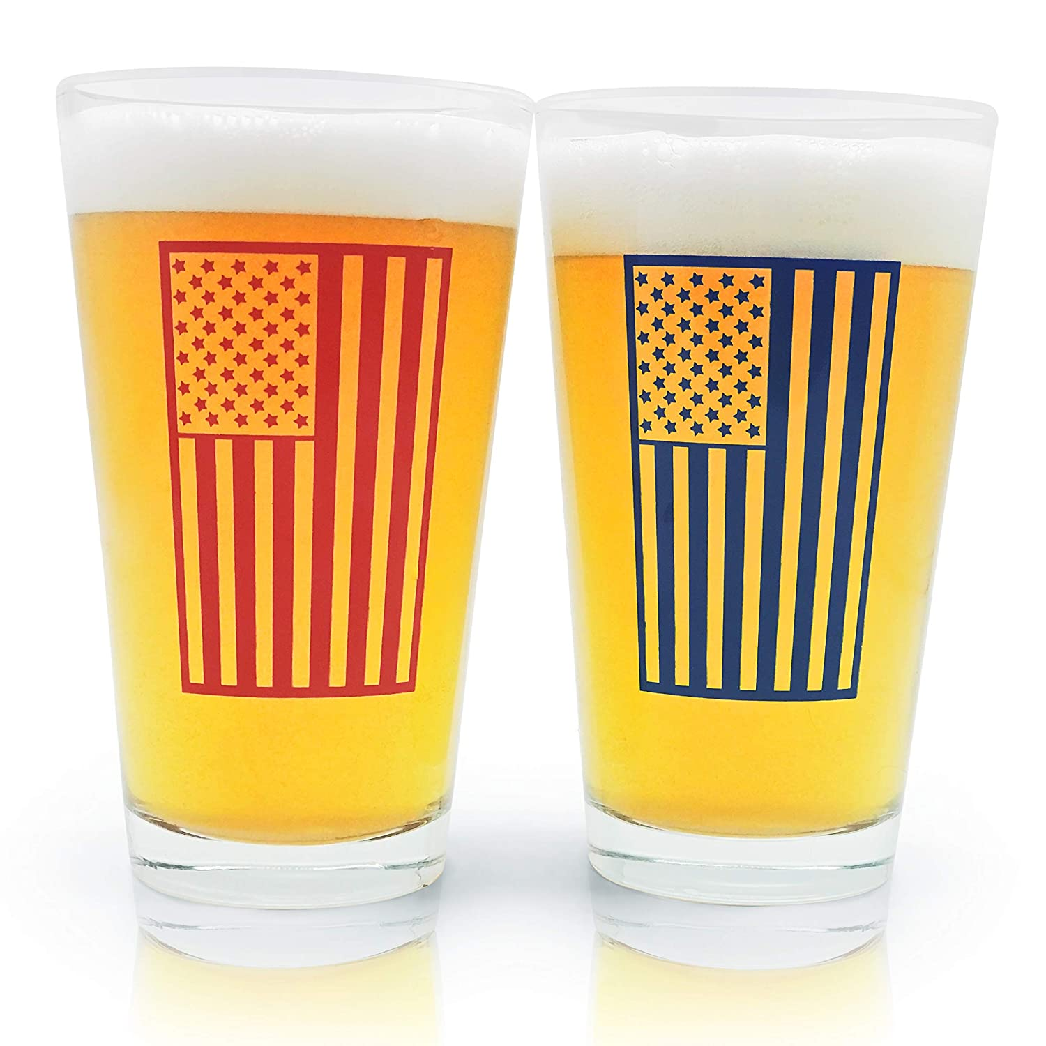 Pint Beer Glass 16oz Set of 2 USA American Flag Pub Mixing Glasses. Nice Birthday Present or Gift for Dad or any Veteran - Perfect for the Kitchen, Bar, Christmas, 4th of July Party! Beer City Glass