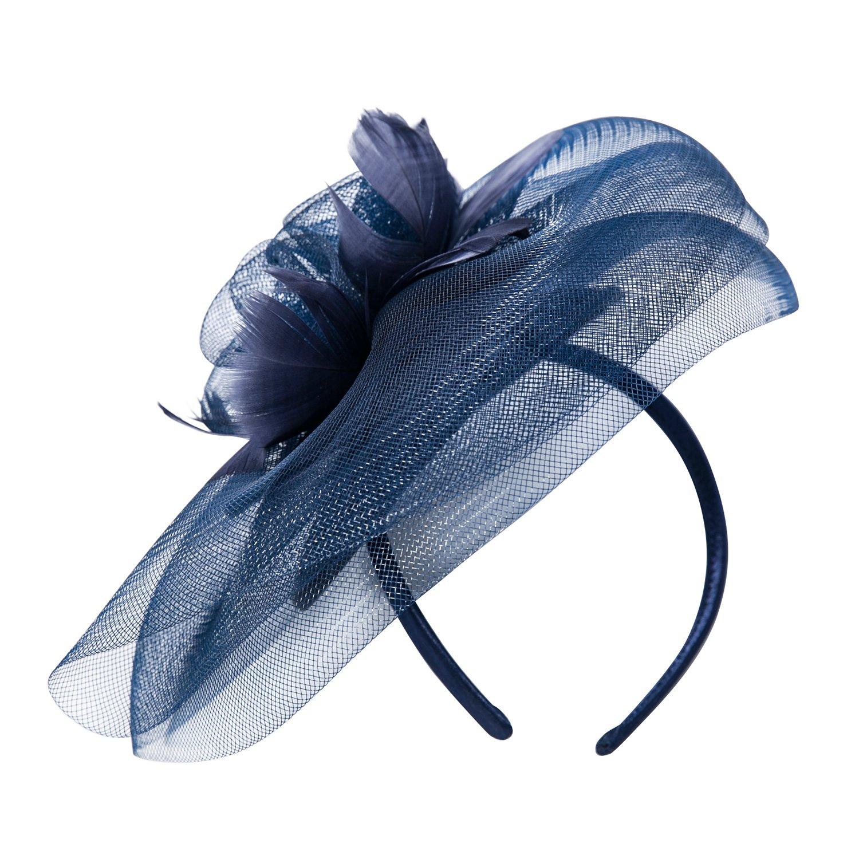 Deevoov Sinamay Flower Feather Alice Headband Fascinator Wedding Headwear Ladies Race Royal Ascot Pillbox Cocktail Party Derby Hat …