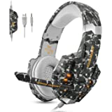 ECOOPRO PS4 Gaming Headset Stereo Gaming Headset 3.5mm Noise Isolation Over Ear Headphones LED Lights & In-line Volume Control with Mic Microphone for PS4 PC MAC Laptop Xbox One Camouflage