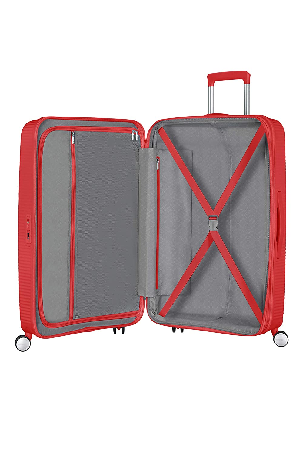 77 cm Verde Spinner Large Expandable Equipaje de Mano 110 Liters American Tourister Soundbox Almond Green//Gold