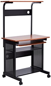 Computer Unit with Computer Storage and Casters Honey and Black