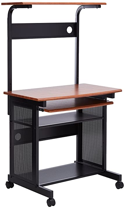 Coaster Computer Desk/Workstation with Sliding Keyboard Tray, Walnut/Black  Finish