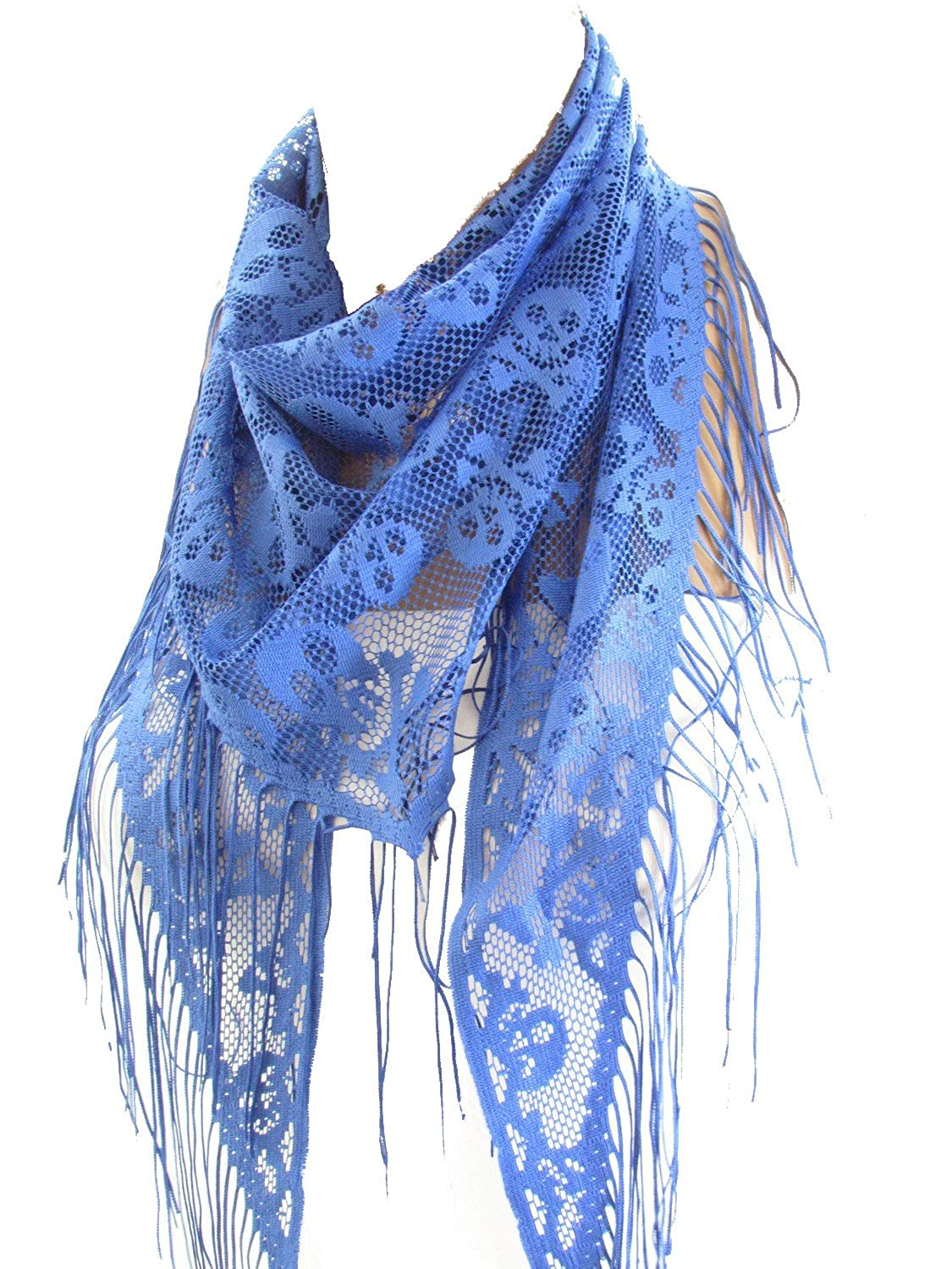 Blue Skull Tulle Scarf Day of the Dead Scarf | SCARFCLUB