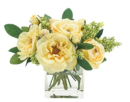 Amazon Fab Flowers Butter Yellow Roses In All Stages Square
