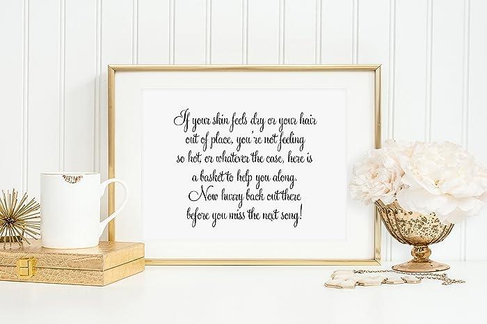 Wedding Bathroom Basket Sign Reception Signage Goodies