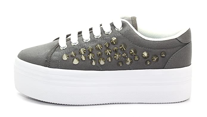 JC Play Womens Grey Silver White Zomg Spike Canvas Platform Shoes