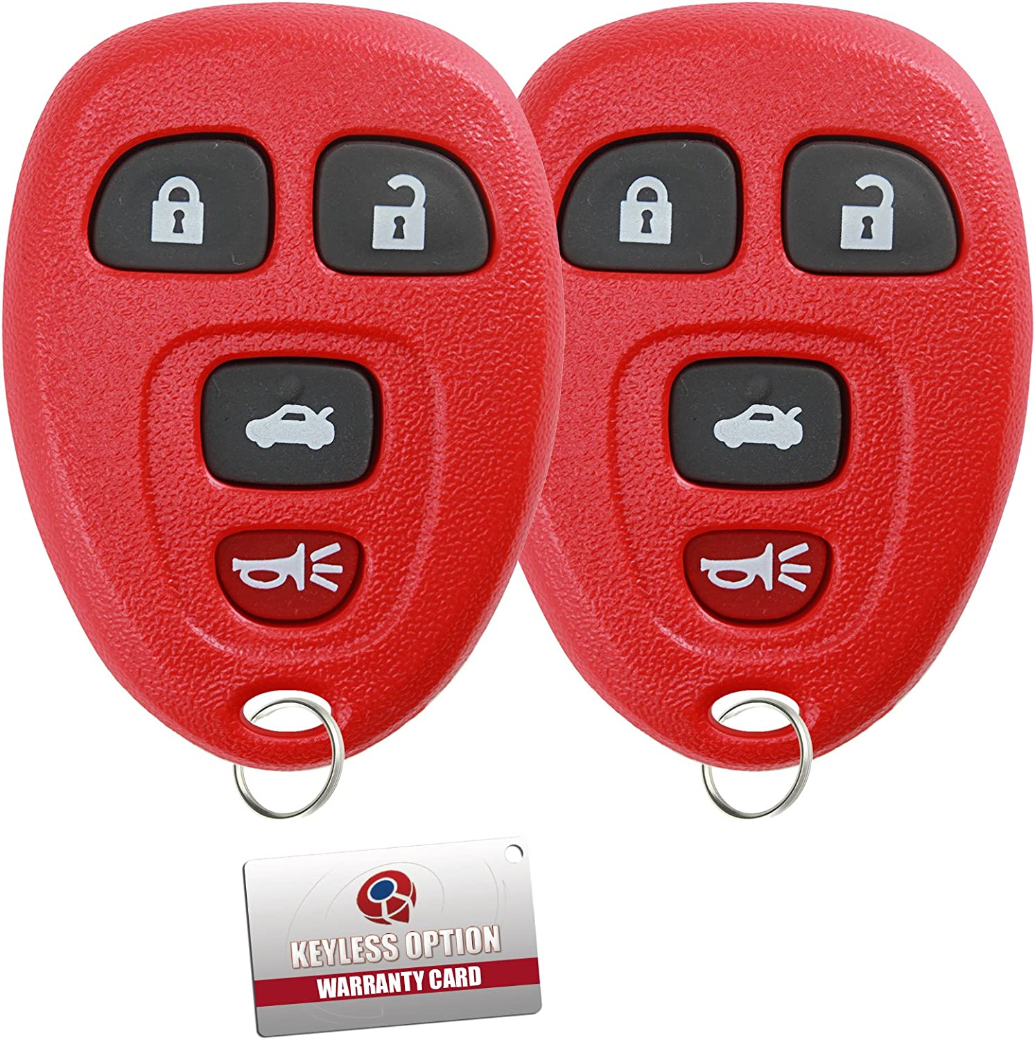 KeylessOption Keyless Entry Remote Control Car Key Fob Replacement for 15252034 Pack of 2 Blue