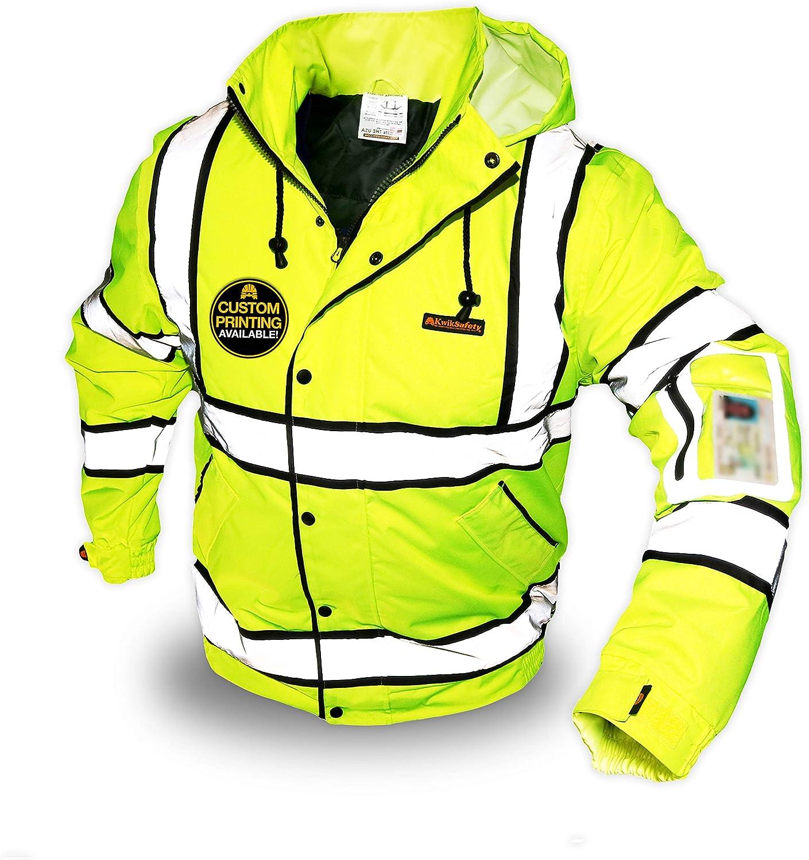 KwikSafety (Charlotte, NC) MARSHAL Bomber Safety Jacket (Multi-Use Rugged) Class 3 Hi Visibility Water Resistant ANSI OSHA Reflective Warm Lightweight Winter Construction Gear Men | Yellow Medium - -