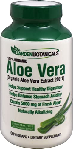 Garden Botanicals Aloe Vera 60 vegicaps, Organic Aloe Vera Extract, Healthy Digestion, 60 Servings