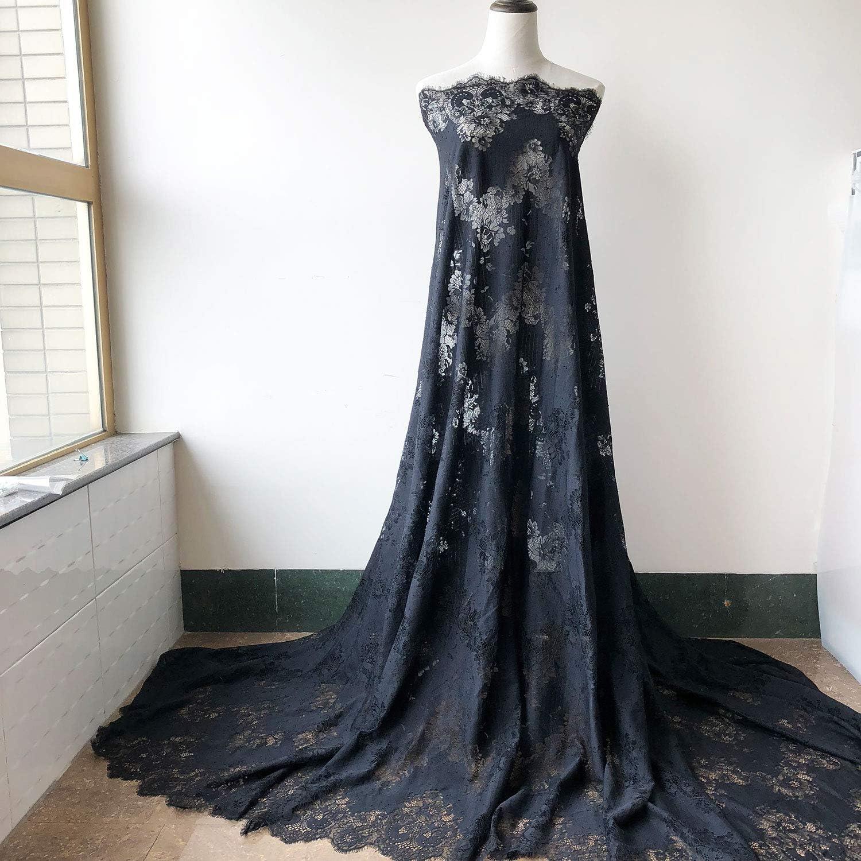 Pestañas negras de encaje Chantilly tela de encaje en ambos bordes, malla de encaje de flores de 59 pulgadas de ancho para lencería, batas, vestido de graduación, Bodices, 3 metros: Amazon.es: Juguetes