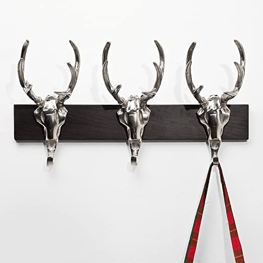 Bowley /& Jackson Stags head cast metal row wall mounted coat hooks