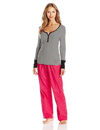 c14f55d852 Betsey Johnson Women s Packaged Ribbed Top with Flannel Pant Two-Piece  Pajama Set