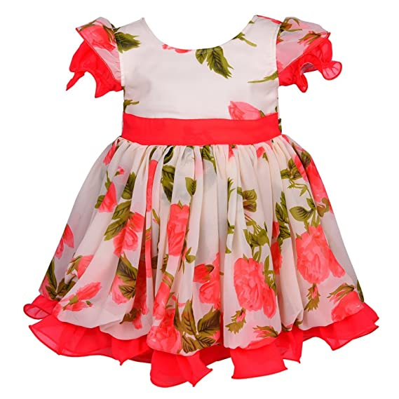 90244336a Wish Karo Baby Girls Off-White and Tomato Color Georgette Partywear Frock  Dress - (