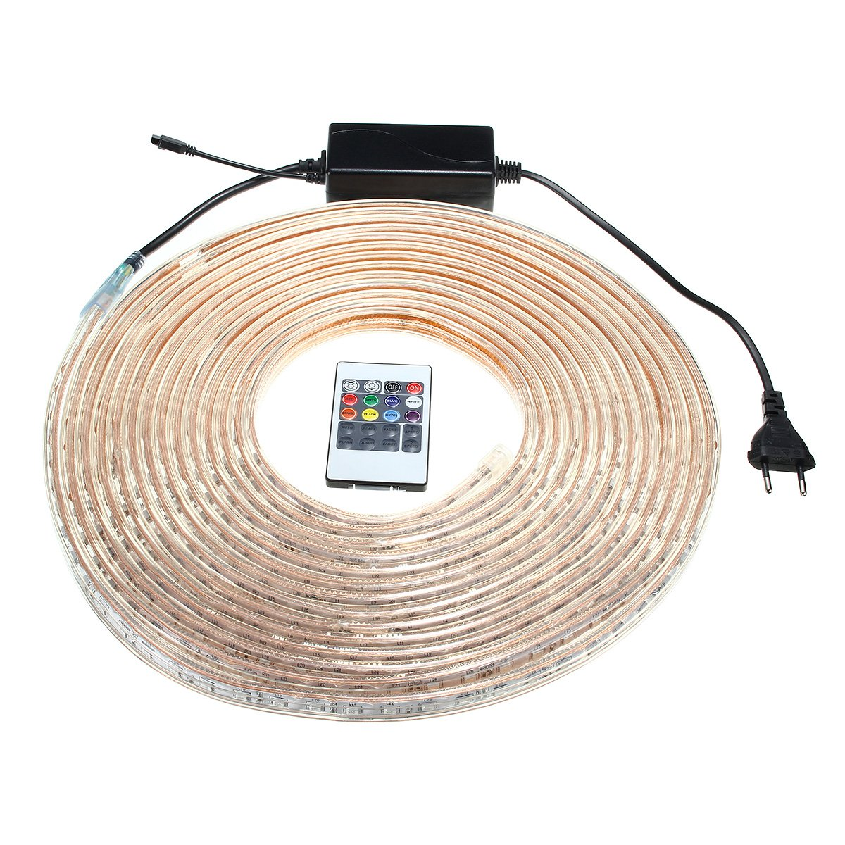 LYEJM 10/15M SMD5050 LED RGB Flexible Rope Outdoor Waterproof Strip Light + Plug + Remote Control AC220V LYEJM (Size : Length 10M)