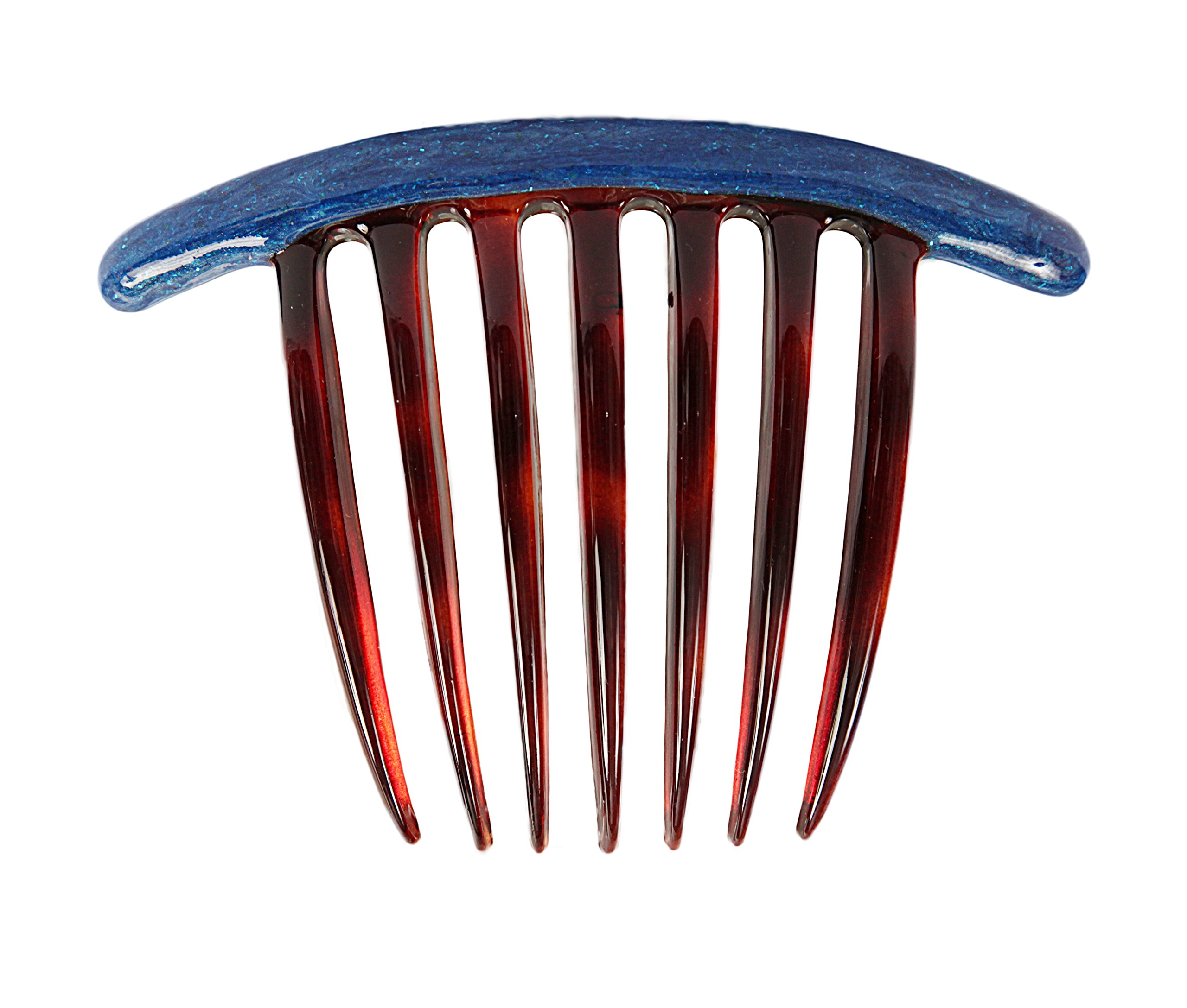 Caravan Tortoise Shell Decorated French Twist Comb with Blue Enamel