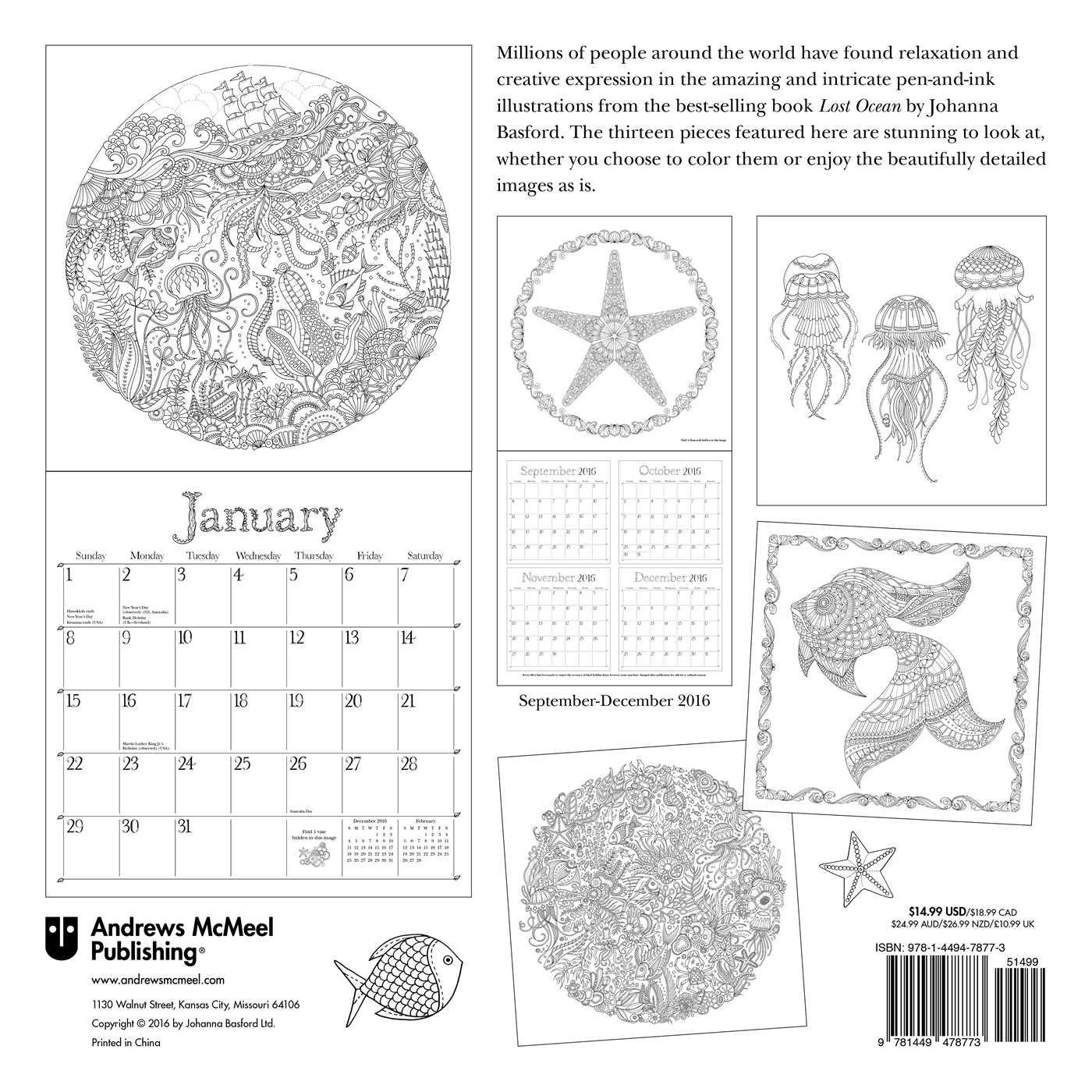 Johanna Basford Lost Ocean 2017 Wall Calendar Amazoncouk Andrews McMeel Books